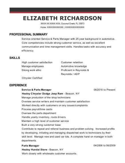 elizabeth richardson - Parts Manager Resume