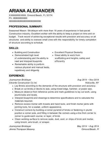 self employed bricklayer resume sample  jenners