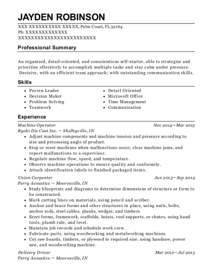 Jayden Robinson  Carpenter Resume