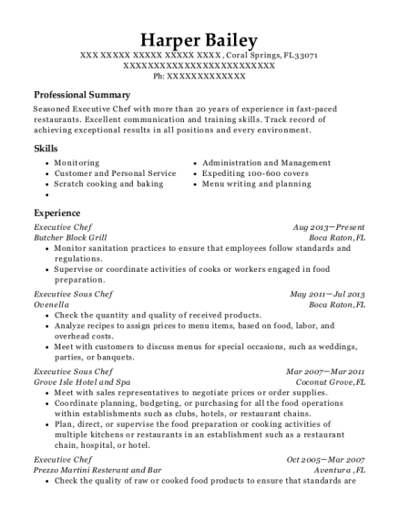 view resume executive chef - Executive Sous Chef Resume