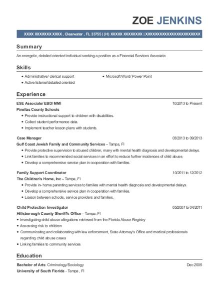 Pinellas County Schools Ese Associate Resume Sample Clearwater