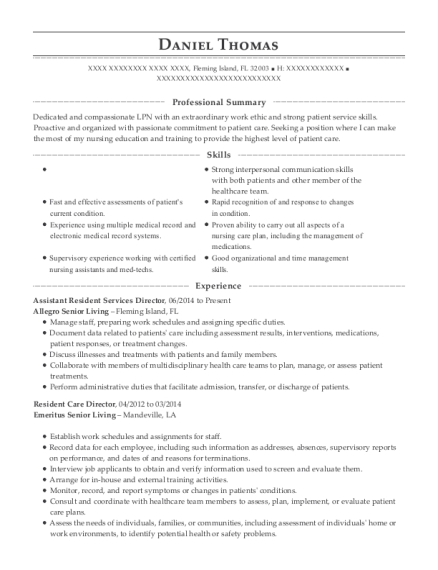 savannah court assisted living resident care director resume sample