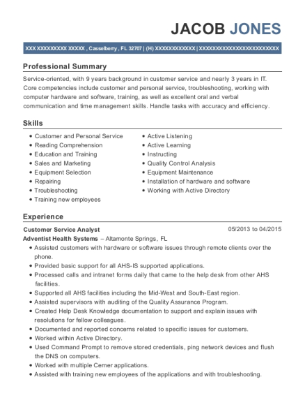 View Resume. Customer Service Analyst