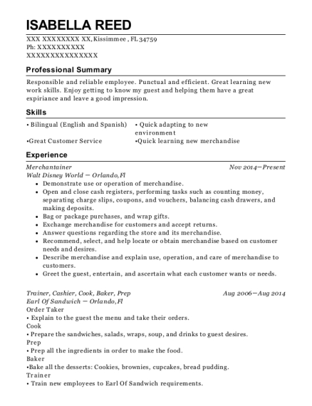walt disney world merchantainer resume sample kissimmee florida