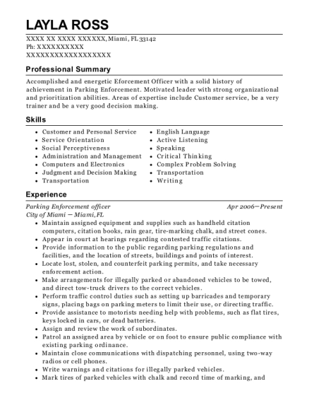 Parking Enforcement Officer , Elementary School Teachers. Customize Resume  · View Resume