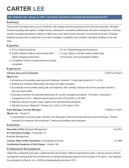 Best Clinique Account Coordinator Resumes | ResumeHelp