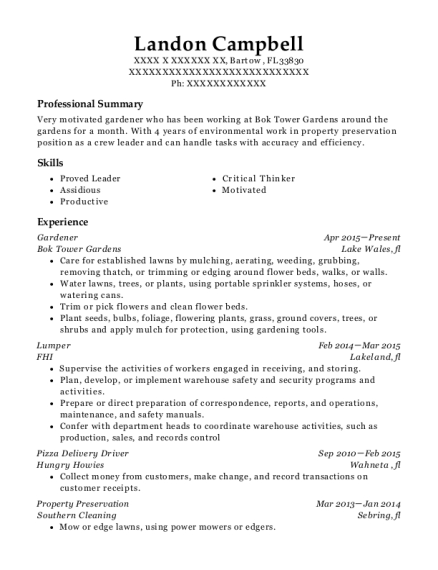 Landon Campbell  Pizza Delivery Resume