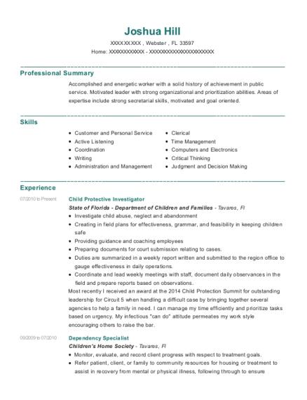 Captivating ... Child Protective Investigator. Customize Resume · View Resume
