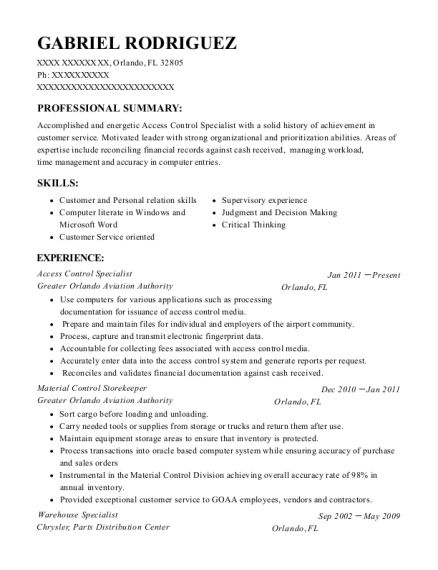 omniplex world services access control specialist resume