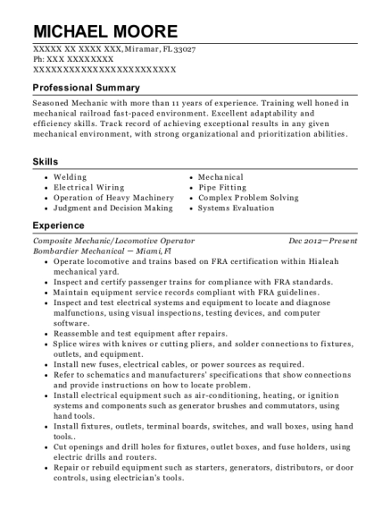 View Resume. Composite Mechanic/Locomotive Operator
