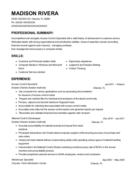 access control specialist material control storekeeper customize resume view resume