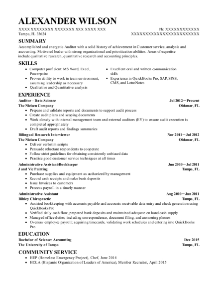 the nielsen company auditor data science resume sample tampa