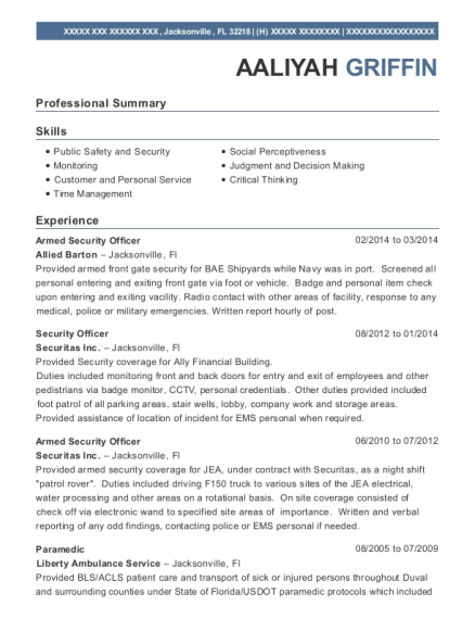 aaliyah griffin allied barton security officer sample resume - Parking Officer Sample Resume