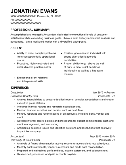Pensacola Country Club Comptroller Resume Sample - Pensacola Florida ...