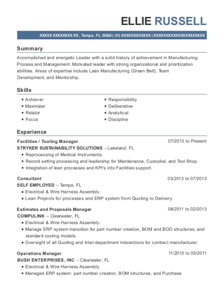 Best Estimates And Proposals Manager Resumes | ResumeHelp