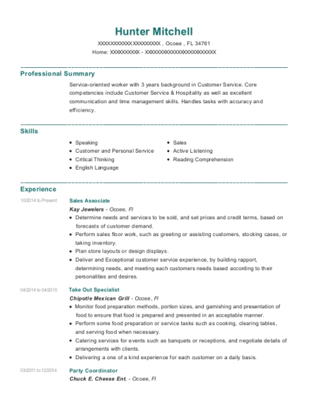 Best Take Out Specialist Resumes Resumehelp