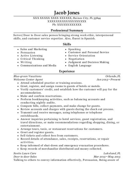 door to door sales resume
