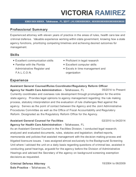 Best Assistant General Counsel Resumes | ResumeHelp
