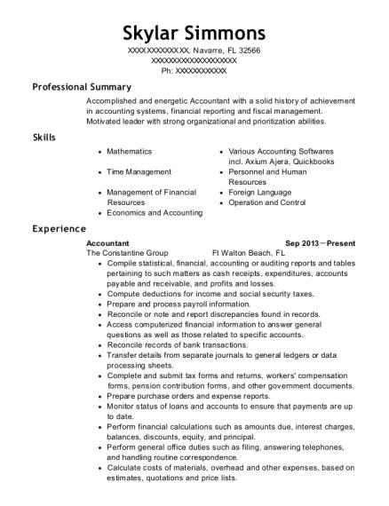 skylar simmons - Plant Accountant Sample Resume