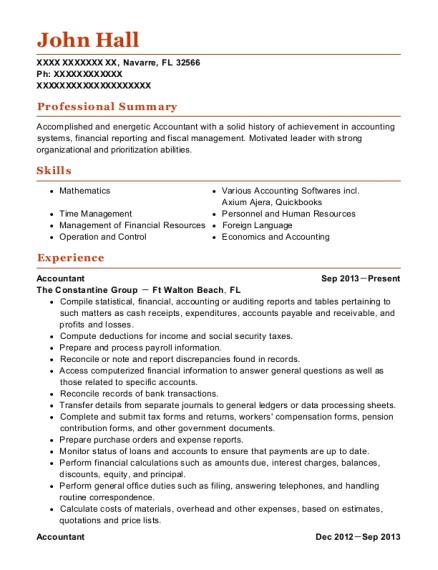 john hall - Plant Accountant Sample Resume