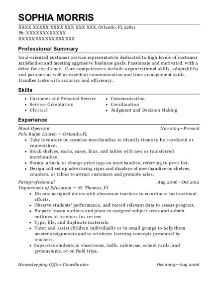 Sophia Morris  Office Coordinator Resume Sample