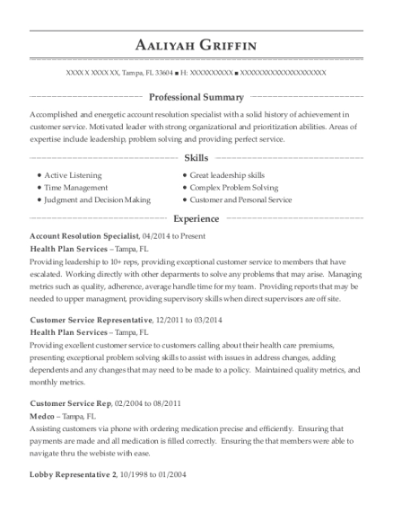 Best Customer Service Rep Resumes In Tampa Florida Resumehelp