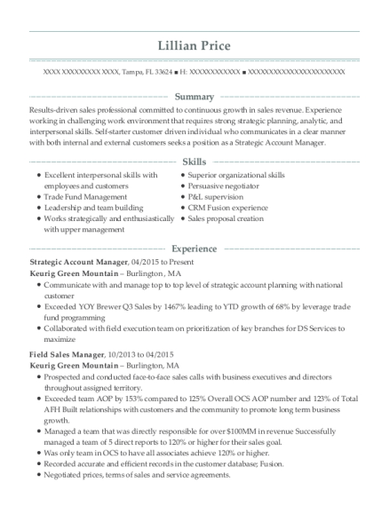 Samsung Electronics America Field Sales Manager Resume Sample ...