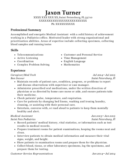 Jaxon Turner  Med Tech Resume