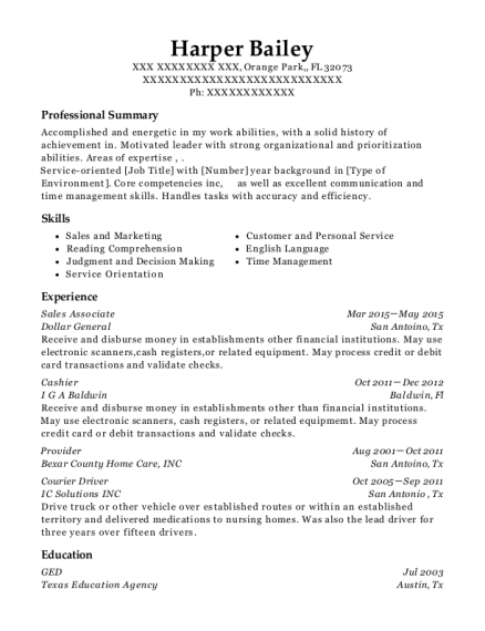 resume for courier driver
