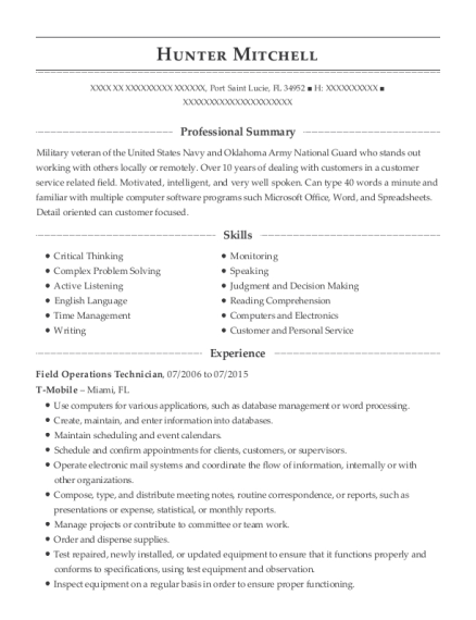 Operating Engineer , Field Operations Technician. Customize Resume · View  Resume