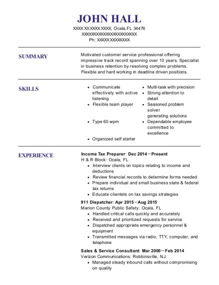 John Hall  Tax Preparer Resume