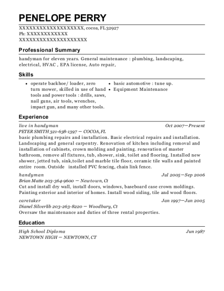 View Resume Live In Handyman