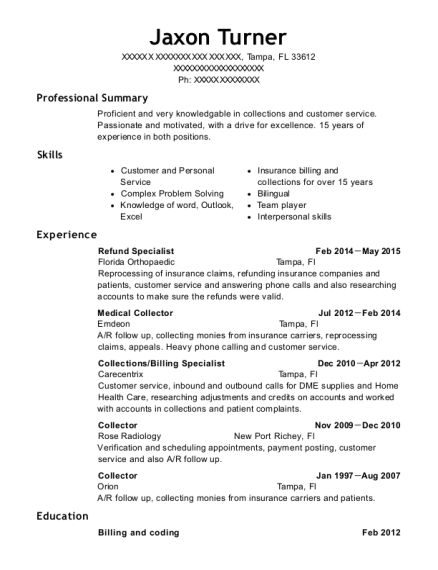 view resume - Billing Specialist Resume