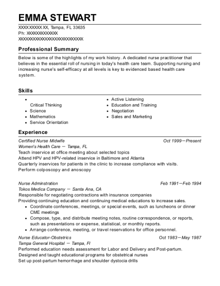 emma stewart - Certified Nurse Midwife Resume