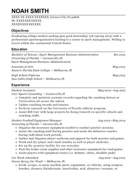Amazing Football Equipment Manager Resume Photos - Best Resume ...