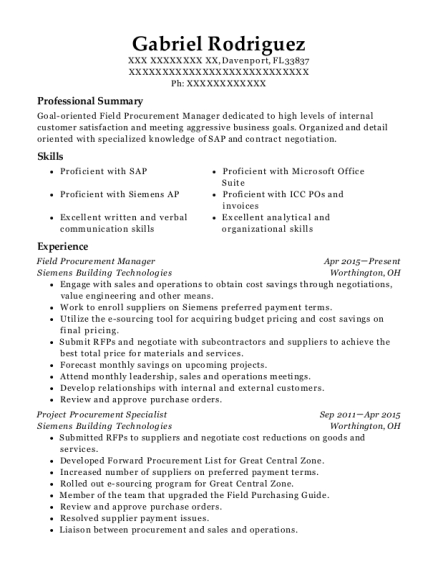 ahrc procurement manager resume sample