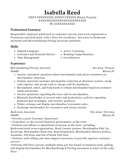 sears merchandising pricing associate resume sample miami - Merchandising And Pricing Associate Sample Resume