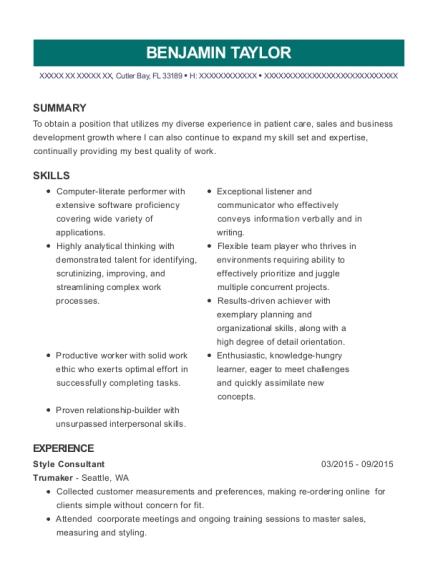 benjamin taylor - Wardrobe Consultant Sample Resume