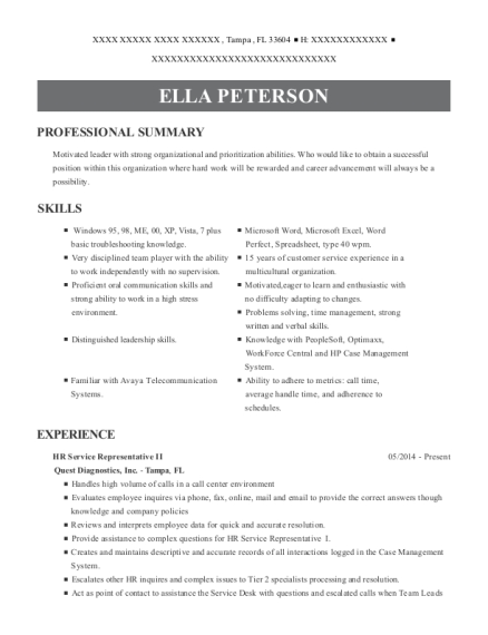 Quest Diagnostics Inc Hr Service Representative Ii Resume Sample