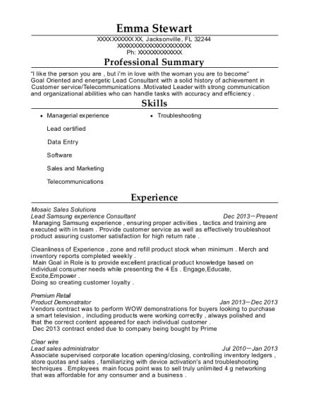 Best Lead Samsung Experience Consultant Resumes | ResumeHelp