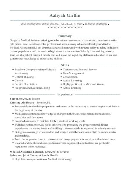 medical assistant externship resume