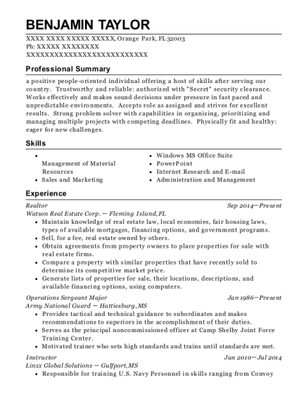 united states army operations sergeant major resume sample