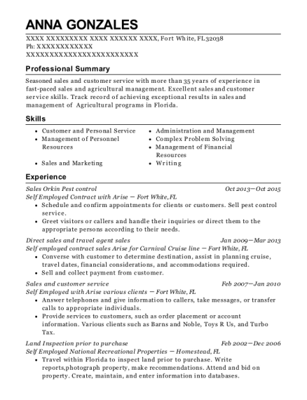 Self Employed Contract With Arise Sales Orkin Pest Control Resume ...