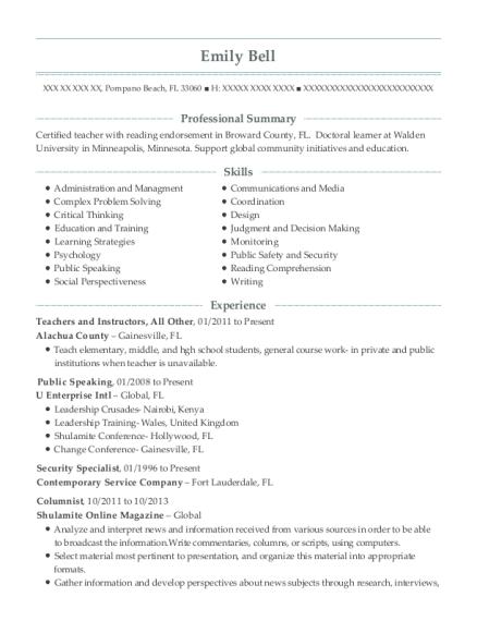 Health Educator Public Speaking Resume Sample - Gainesville Virginia ...