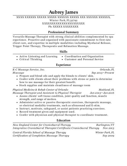 Best Massage Therapist/esthetician Resumes | ResumeHelp