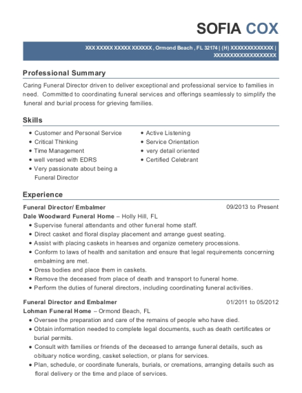 view resume funeral director