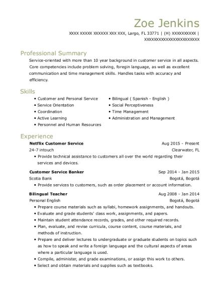 24 7 intouch netflix customer service resume sample largo florida
