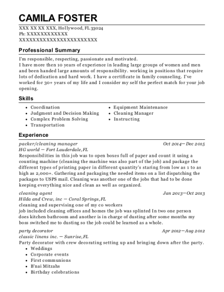 Best Cleaning Manager Resumes | ResumeHelp