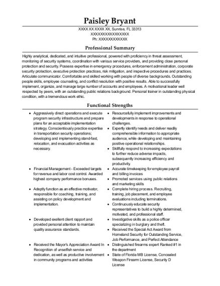 Best Executive Protection Specialist Resumes Resumehelp