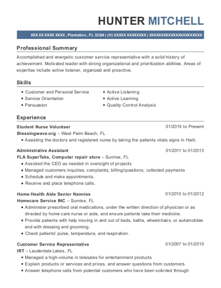 Student Nurse Volunteer , Patient Support Technician. Customize Resume ·  View Resume
